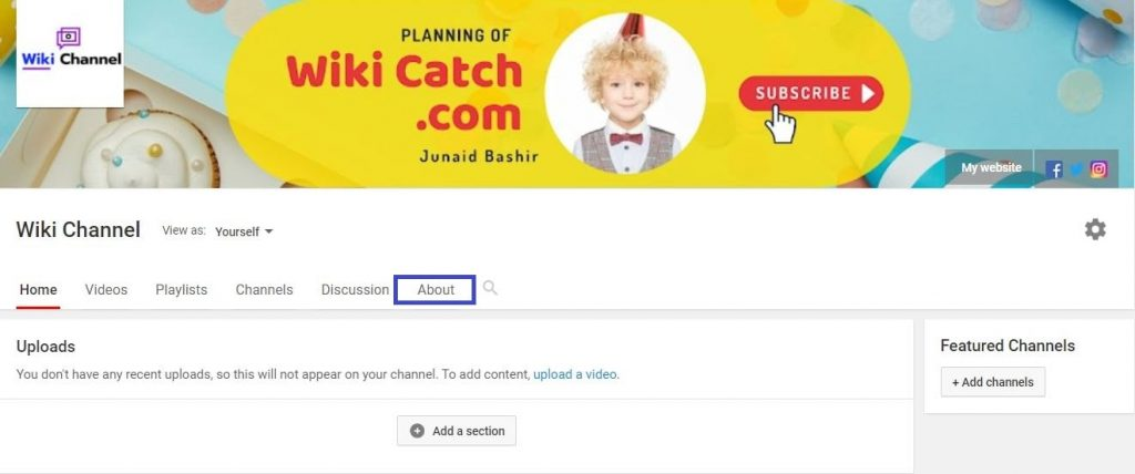 add email in youtube step 2