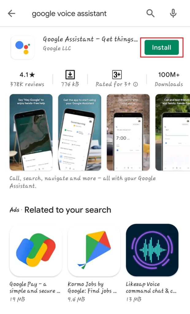 Google Voice Assistant App Install Kaise Kare Step 2