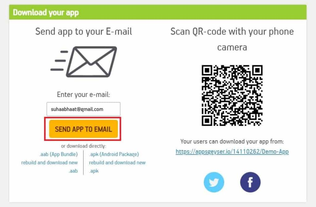 SEND App TO Email